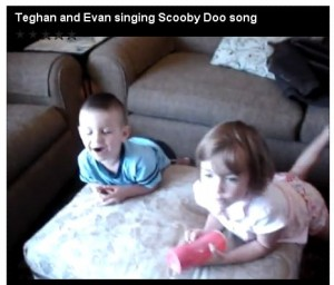 Teghan and Evan Singing Scooby Doo Song